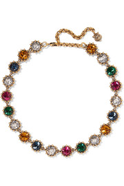 Gucci Burnished gold-tone crystal necklace