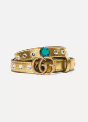 Gucci Crystal-embellished metallic leather belt