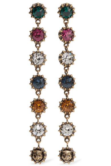 Gucci - Burnished Gold-tone Crystal Earrings - one size