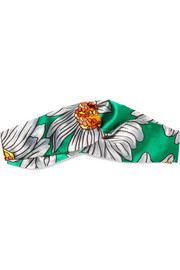 Gucci Twisted printed silk-satin headband