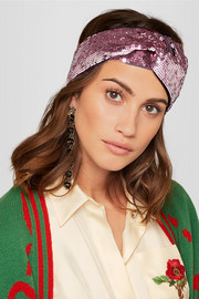Gucci Twisted squined tulle and silk-satin headband