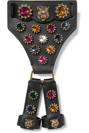 Gucci Leather, crystal and gold-tone bracelet