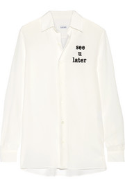 Loewe Embroidered silk crepe de chine shirt