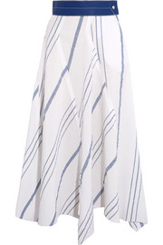 Leather-trimmed striped cotton and linen-blend midi skirt