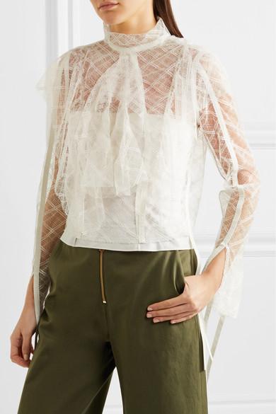 e50e66ef9f8 Cotton-trimmed ruffled lace blouse