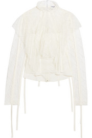 Cotton-trimmed ruffled lace blouse