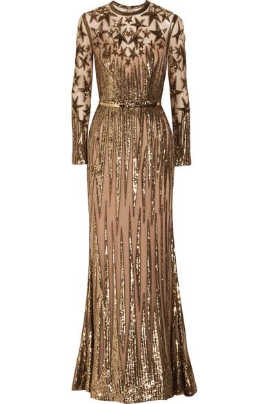 Elie Saab - Embellished Tulle Gown - Gold