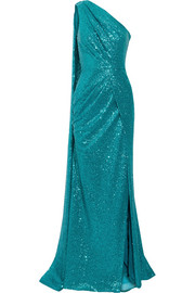 Elie Saab One-shoulder cutout sequined tulle gown