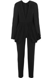 Cape-effect silk-blend crepe jumpsuit