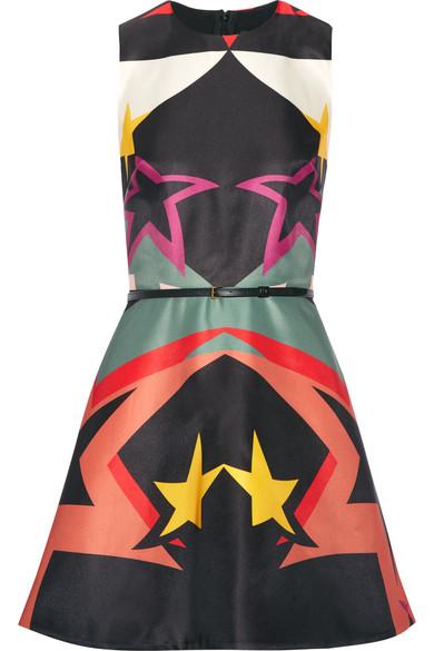 Elie Saab - Printed Satin Mini Dress - Black