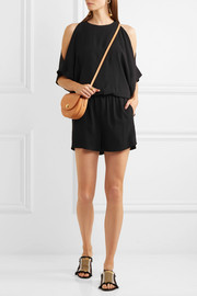 Ginesa cold-shoulder open-back crepe playsuit