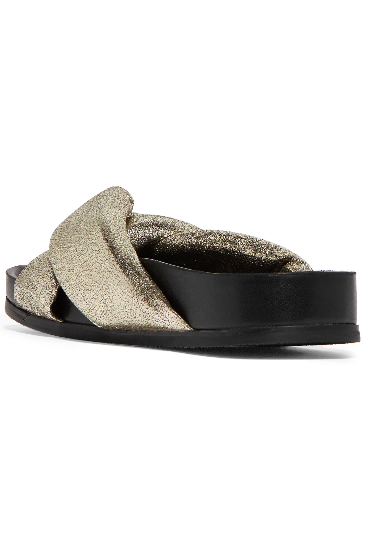 Chloé Metallic cracked-leather slides