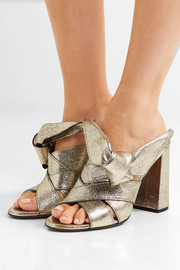 Chloé Knotted metallic textured-leather mules