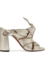 Knotted metallic textured-leather mules