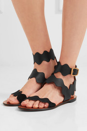 Chloé Scalloped suede-trimmed leather sandals