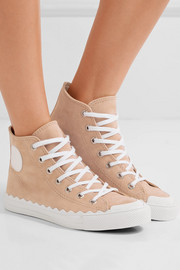 Chloé Leather-trimmed suede high-top sneakers