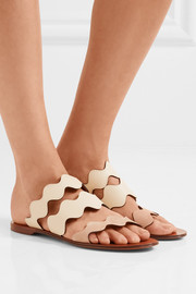 Chloé Scalloped leather and suede sandals