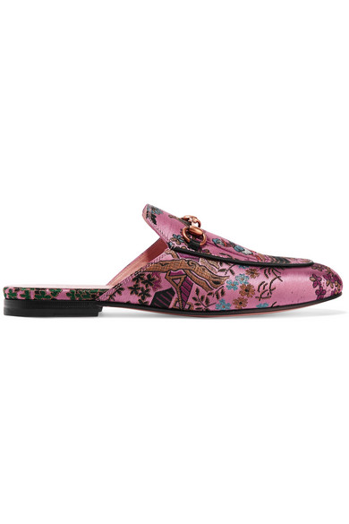 aad1ee52c Gucci | Princetown horsebit-detailed metallic jacquard slippers ...