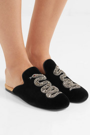 Crystal-embellished velvet slippers