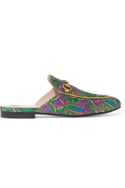 Princetown horsebit-detailed metallic jacquard slippers