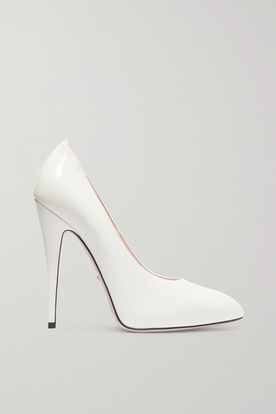 GUCCI ELAISA REMOVABLE CRYSTAL BOW & LEATHER POINT TOE PUMPS, WHITE