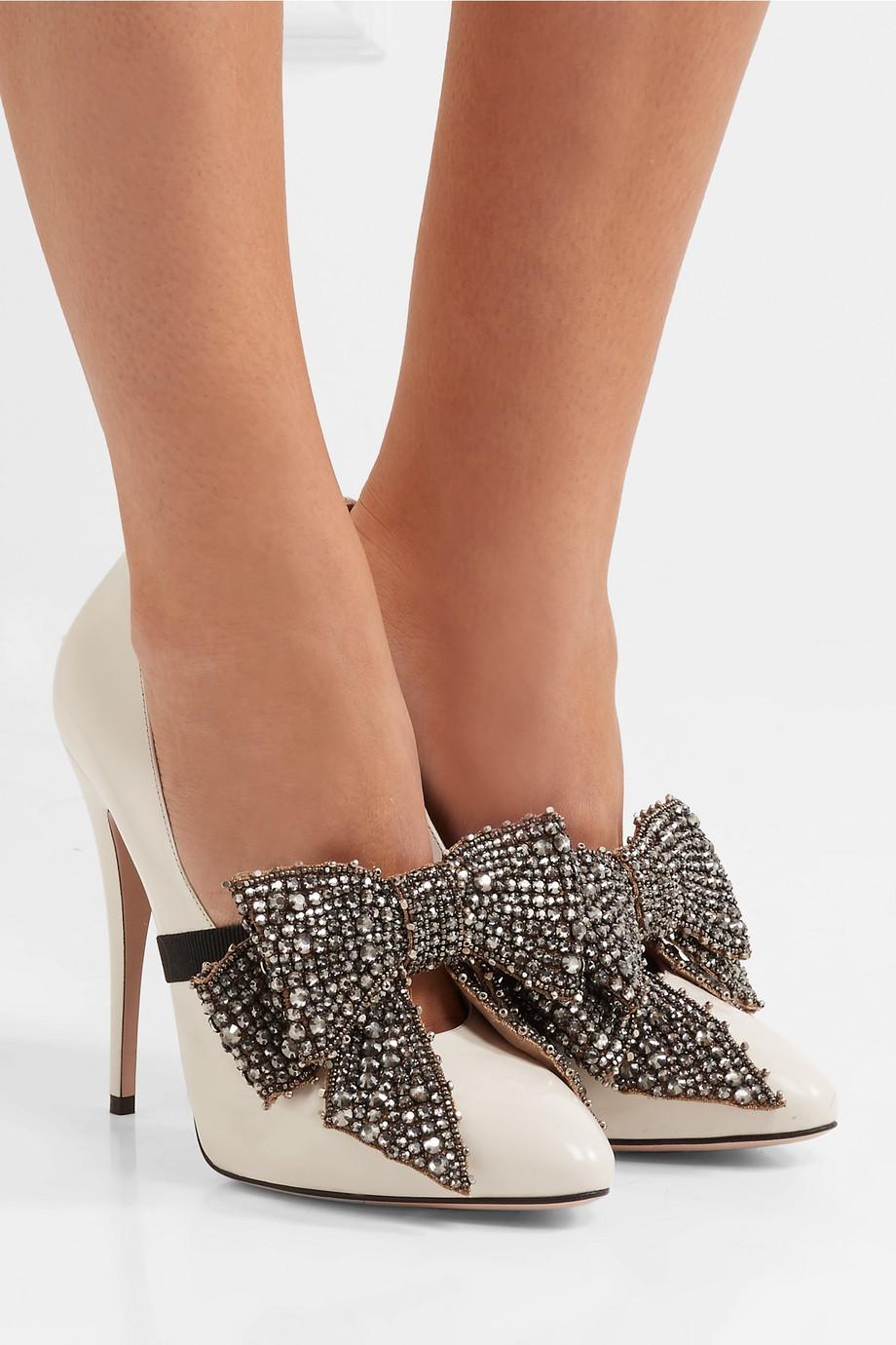 Gucci 蝴蝶结装饰漆皮高跟鞋