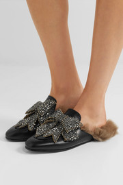Gucci Shearling-lined embellished leather slippers