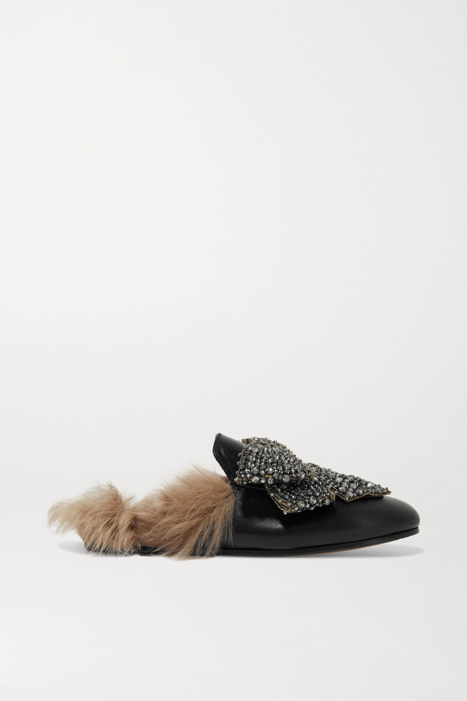 Gucci Princetown shearling-lined embellished leather slippers
