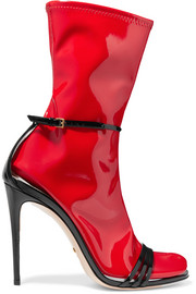 Convertible patent-leather and latex sandals