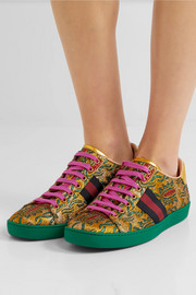 Gucci Ace metallic leather-trimmed brocade sneakers