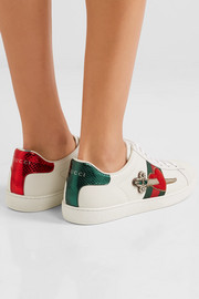 Gucci Appliquéd embellished leather sneakers
