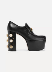 Gucci Embellished leather platform loafers