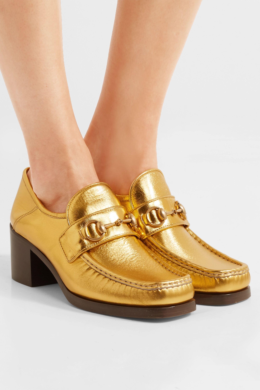 Gold Horsebit-detailed collapsible-heel