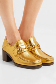 Gucci Horsebit-detailed metallic leather loafers