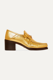 Horsebit-detailed metallic leather loafers