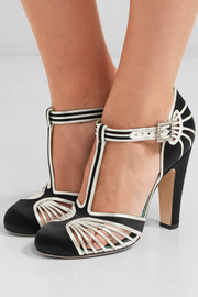 Satin and metallic leather T-bar pumps