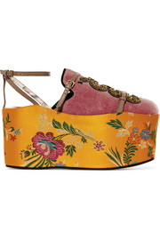 Convertible embellished velvet and jacquard platforms