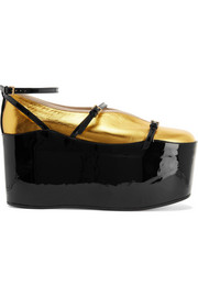 Convertible patent and metallic textured-leather platform pumps