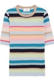 Allude Ribbed striped cashmere top