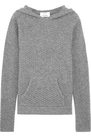 Hooded waffle-knit wool and cashmere-blend sweater