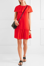Delphes ruffled crepe de chine mini dress