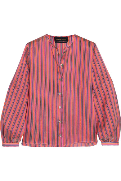Vanessa Seward - Danais Striped Silk-jacquard Blouse - Pink
