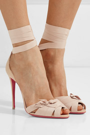 Christian Louboutin Christeriva 100 bow-embellished grosgrain and suede sandals