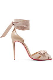 Christeriva 100 bow-embellished grosgrain and suede sandals