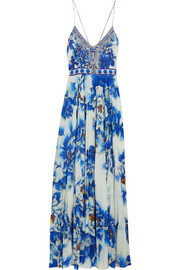 Crystal-embellished printed silk and crepe de chine maxi dress
