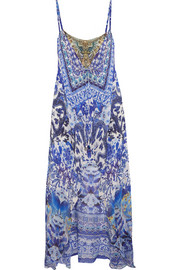 Asymmetric embellished printed silk dress