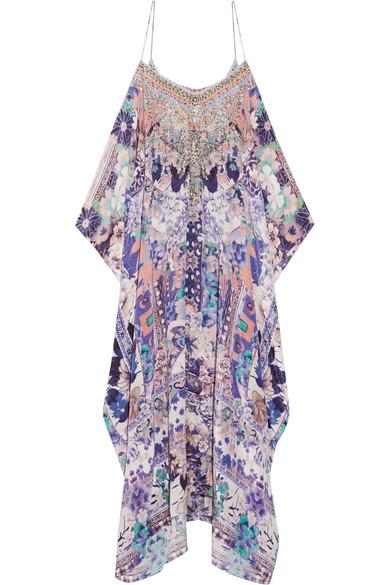 Camilla - Cold-shoulder Embellished Printed Silk Kaftan - Purple
