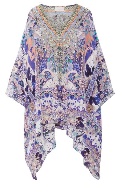 Camilla - Embellished Printed Silk-crepe De Chine Kaftan - Purple
