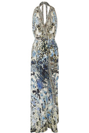 Chinese Whispers embellished printed silk halterneck wrap dress