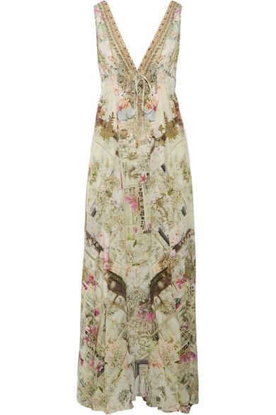 Camilla - Crystal-embellished Printed Silk Crepe De Chine Maxi Dress - Sand